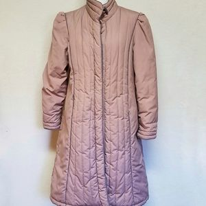 Vintage Quilted Puffer Full Length Purple Jacket